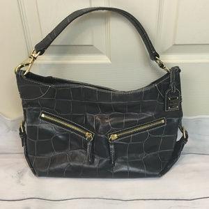 DOONEY & BOURKE Blue Croc Leather Handbag  VTG